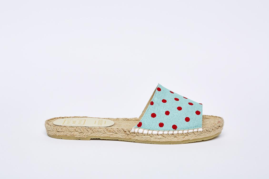 Alpargatas de sandalia de mujer en color menta y lunares