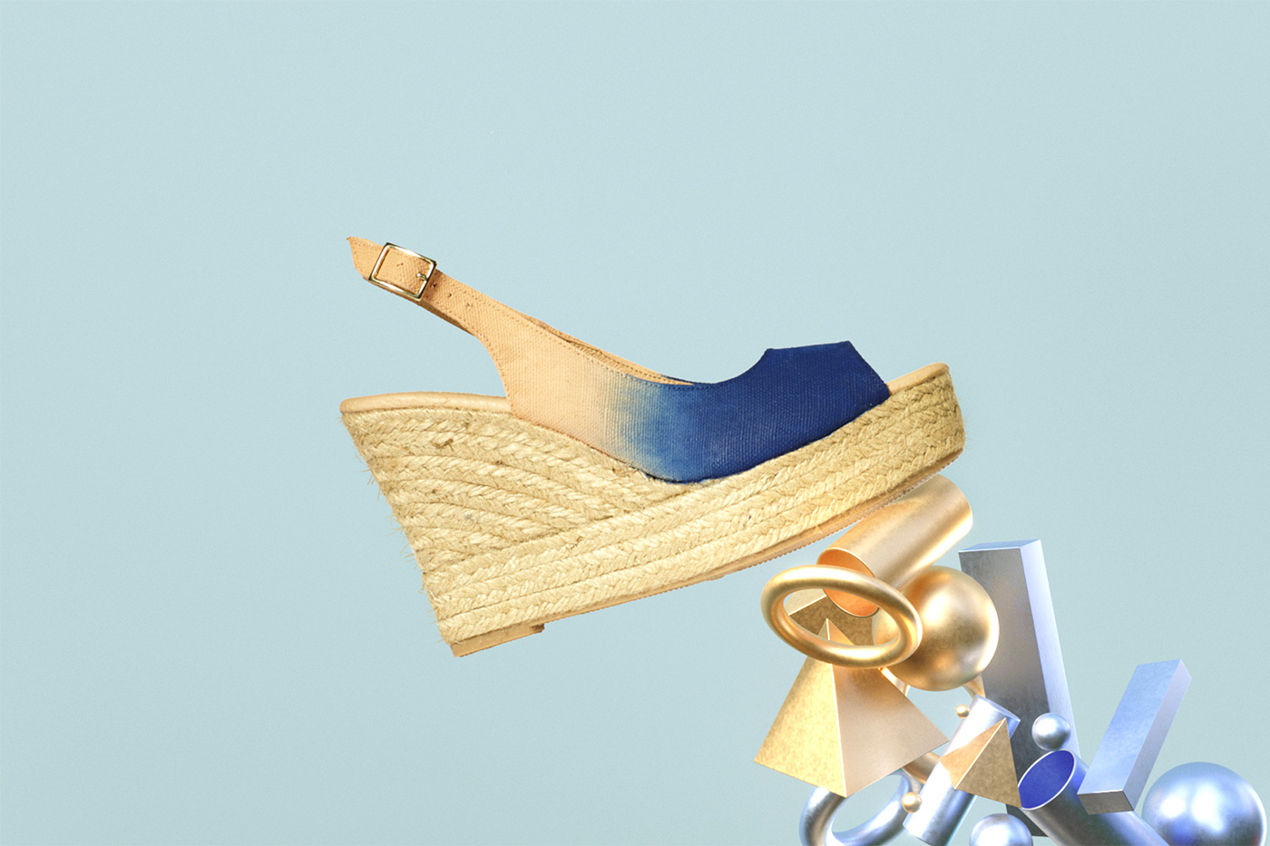cuñas para mujer nude y azul